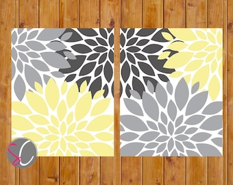 Floral Flower Burst Gray Yellow Set of 2 Wall Art Baby Nursery Bedroom Bathroom Living Room Decor 11x14 JPG Files Printable