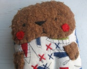 Bernard likes boats tiny embroidered folk art rag doll Bear