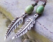Free Bird - Bone Feathers Natural Turquoise Stone Long Funky Hippie Earthy Organic Woodland Wedding Etsy Earrings Jewelry For Her Under 25