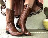 70s Tony Lama Rodeo Cowboy Cowgirl Boots - Black Star Label - Ladies Two Tone Cognac Leather - Western Desert Saloon 8