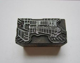 Vintage Letterpress Printers Block Kitchen