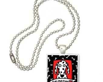 Dalmation Love Pop Art Pendant Necklace FREE SHIPPING