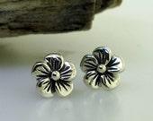Flower Stud Earrings - sterling silver flower post earrings by Kathryn Riechert
