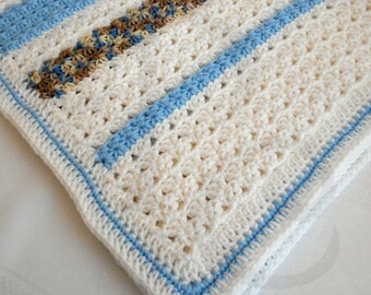 Crocheted Baby Blanket - Blue and White Crocheted Baby Afghan - Babyghan - Baby Shower Gift - Ready to Ship
