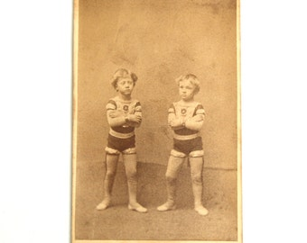 Rare Antique CDV Child Acrobats Circus Sideshow Souvenir CDV Barnum Bailey Photo Photograph Circa 1880
