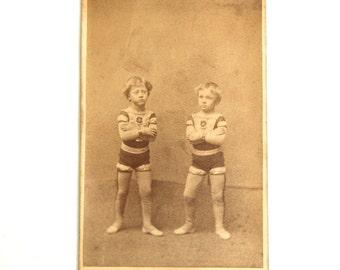 Rare Antique CDV Child Acrobats Circus Sideshow Souvenir CDV Barnum Bailey Photo Photograph Circa 1880