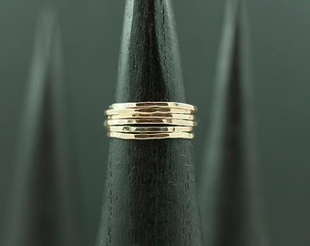 SIX RINGS - Thin Hammered Stacking Rings - Handmade in the USA with Recycled Metal - Add to your Ring Stack - Stacking Gold Rings