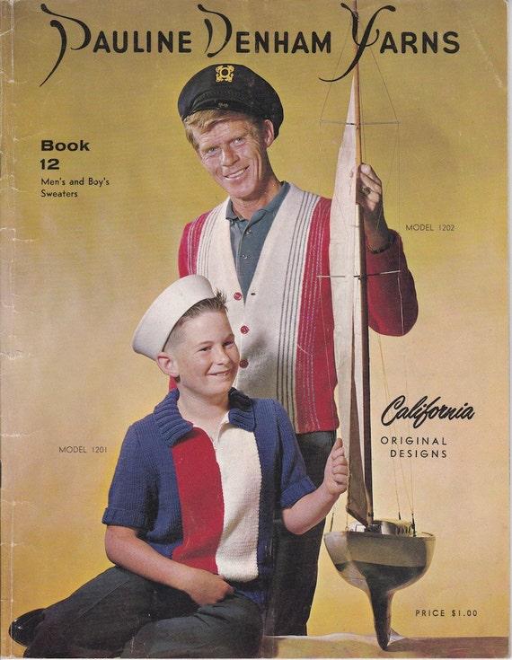 California Original Designs Pauline Denham Yarns Book 12 Men's and Boy's Sweaters - Vintage Knitting Patterns