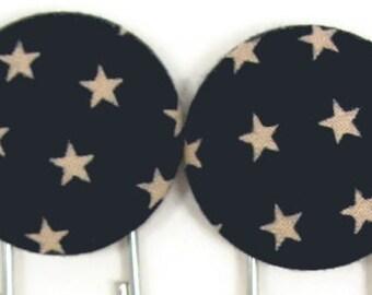 Set of 2 Jumbo Paperclips in Navy & Stars