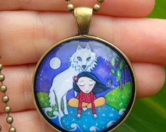 White wolf and Girl Necklace little girls gift Glass Tile Pendant Vintage Bronze Setting wolf jewelery gift for friend sister daughter
