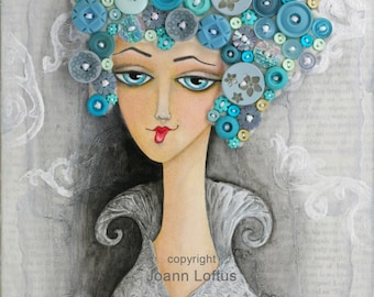 Button Art - Whimsical Girl Painting - Funky Folk Art Print