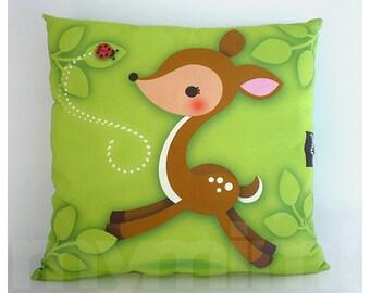 "12 x 12"" Animal Deer Pillow, Woodland Fawn, Kids Cushion, Cotton Pillow, Kids Room Decor, Forest Animal Nursery, Kids Bedroom, Green Pillow"