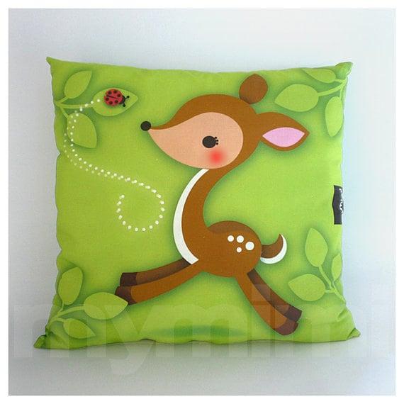 Animal Pillows For Nursery : 12 x 12 Animal Deer Pillow Woodland Fawn Kids Cushion