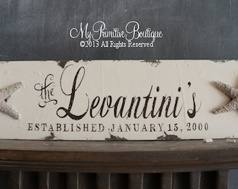 Vintage BEACH WEDDING Sign, Starfish Design, Custom Name Sign, 24 x 6