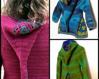 Set of 3 PDF crochet pattern - Hooded cardigans  Armel,  Ermeline and Jehanne -   for children aged 2 to 8 and Women sizes XS to XL