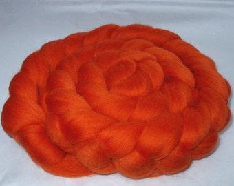 ORANGE, merino roving, wool roving, 20 micron, spinning fiber, felting wool, dread wool, dolls hair, dreads, 3.5oz, 100g, 100% wool