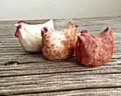 Porcelain Country Hen , Rustic Folk Art Made to Order