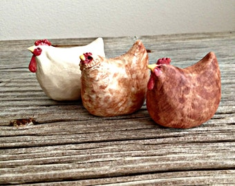 Porcelain Country Hens, Rustic Folk Art , Set of THREE -Made to Order