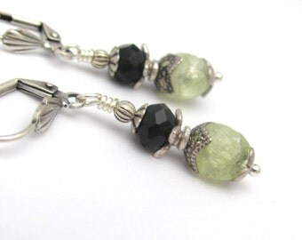 Victorian Earrings, Antique Style Jewelry, Art Deco Earrings, Green Beaded Earrings, Black Earrings, Victorian Renaissance Jewelry