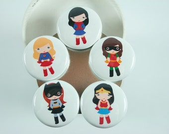 Supergirl Magnets, Super Hero Pin Back Buttons, Mothers Day gift, Inspirational Gift, Teacher Gift