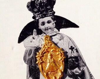 INFANT PRAGUE MEDAL Vintage Deco Sacred Heart
