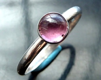 Pink Tourmaline Ring in sterling silver stacker size 7