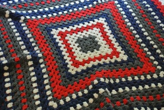 Red, white, blue, grey crochet blanket