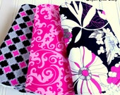 Baby Girl Burp Cloths  -  Super Absorbent Triple Layer Chenille - Set of 3  -  Pink, Black & White Floral, Quatrefoil and Pink Floral Scroll