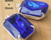Sapphire Blue Glass Beads, Silver Plated Brass Settings, Octagons, 18mm x 13mm, Glass Gems, Rhinestone Jewels, Cabochon, Cobalt, One Pair