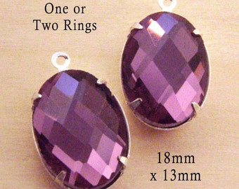 Amethyst Purple Glass Beads - 18mm x 13mm Oval - Silver or Brass Prong Settings - Framed Glass Pendant or Earring Drops - One Pair