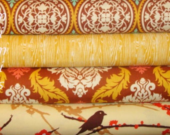 AVIARY 2 and True Colors by  Joel Dewberry Fabric / 4 Half Yard Bundle /  Bark / Cotton Quilt Fabric