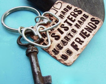 SISTER Friends Key Chain - Hand Stamped Modern Rustic Antiqued Copper and sterling silver from KEY SERIES can be customized and personalized