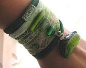 Earth Bracelet, Green, Beaded, Antique Silk, Velvet, Moss, Forest, Stone, Boho, Rustic, Woodland