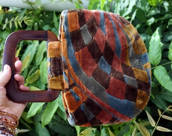 Vintage Tapestry Handbag Purse Hippie Boho Bohemian Flower Power Festival 70s Seventies 1970s Carpetbag Women Accessories Bags and Purses