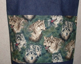 New Handmade Wolf Wolves Evergreen Nature Wildlife Large Denim Tote Bag