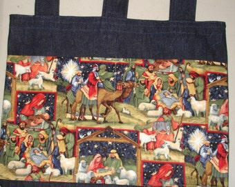 New Handmade Denim Walker Bag Christmas Nativity Patchwork Theme