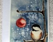 Christmas Chickadee Card - Silent Night