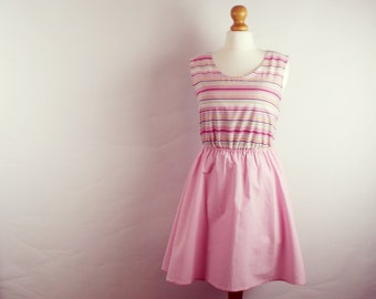 Cute pink stripe and gingham dress skater dress vintage cotton gingham plaid skirt small UK 6-8