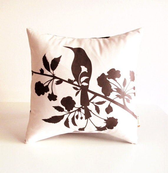Brown Print on Off white Blooming Blossom-Mini 10.5 Inches Square Pillow