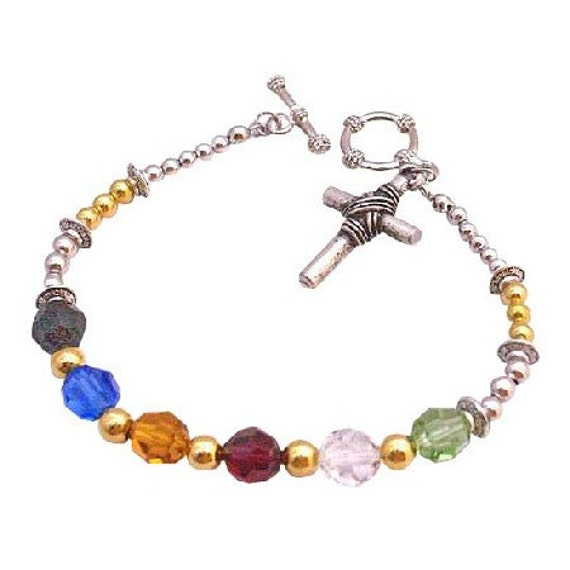 Salvation Bracelet Austrian Crystal Multicolor With Bali Spacer Sterling Silver Clasp Free Shipping In USA