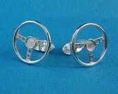 Sterling silver steering wheel cufflinks