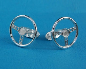 Sterling silver steering wheel cufflinks
