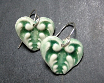 Heart Porcelain Earrings In Green Blue With Sterling Silver Earwires
