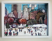 3D Mixed Media White Shadow Box, Central Park, NYC, Winter City Skyline Snow Landscape Cityscape Scene, Wollman Skating Rink, PJ Cobbs Arts