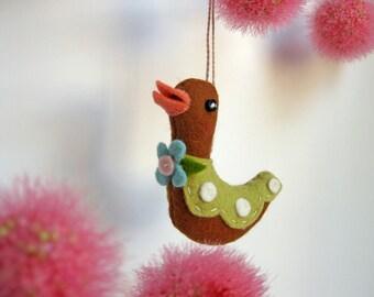 Tiny Bird Plush Ornament in Brown
