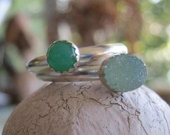 Druzy stacking ring set - cavern