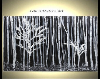 Black and White Original Landscape Painting Birch Trees  Gallery Wrapped Canvas No Need to Frame 30X24X1.5