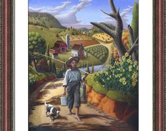 Boy And Dog print, Fish, Amish farmhouse Decor, Farm Folk Art, Framed Matted Print Americana, Appalachian,