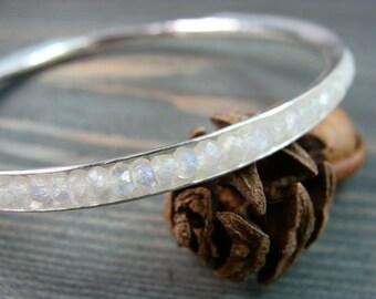 moonstone skinny gemstone bangle