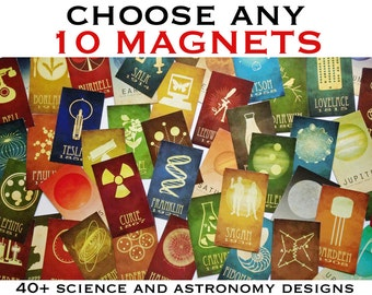10 Science Magnets - Science and Astronomy Illustration, Solar System Diagram, Geeky Gift, Decorative Fridge Magnets